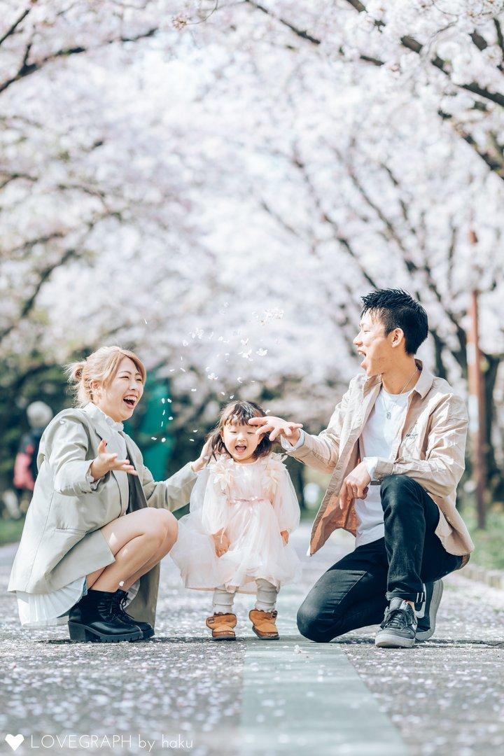 桜 Family photo 〜結七1歳半〜   家族写真(ファミリーフォト)