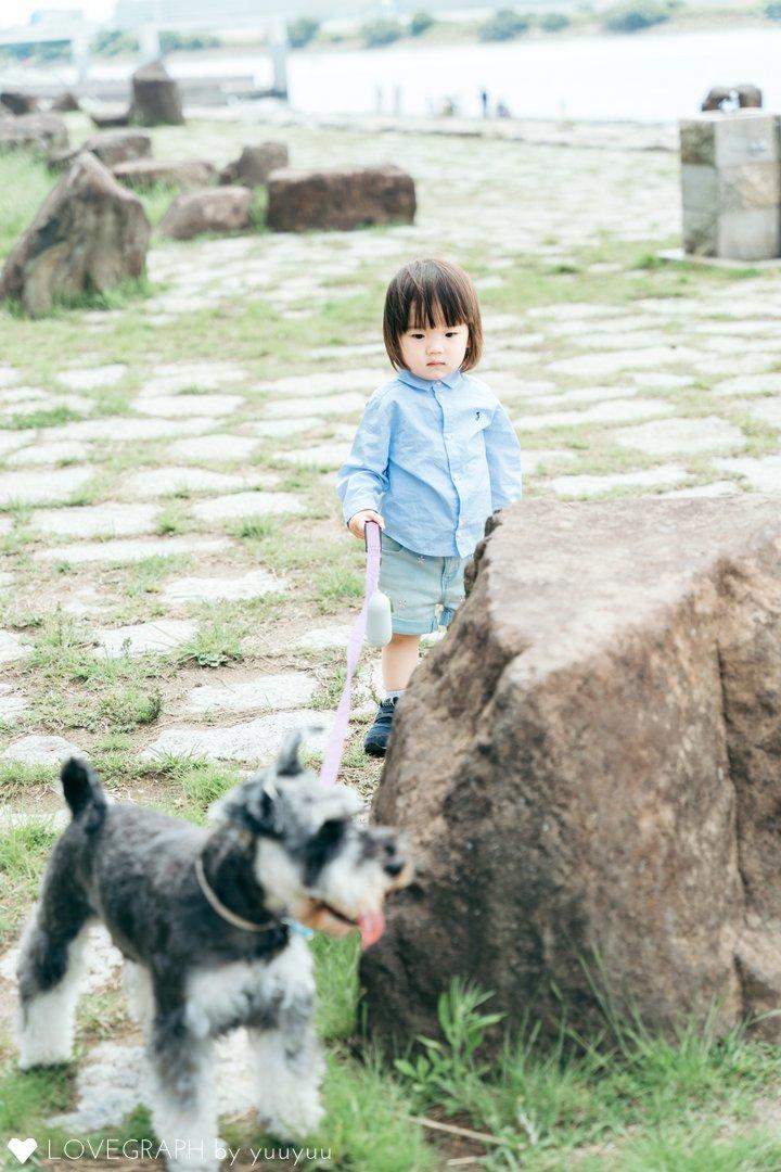 Baby and Dog in Kasai | 家族写真(ファミリーフォト)